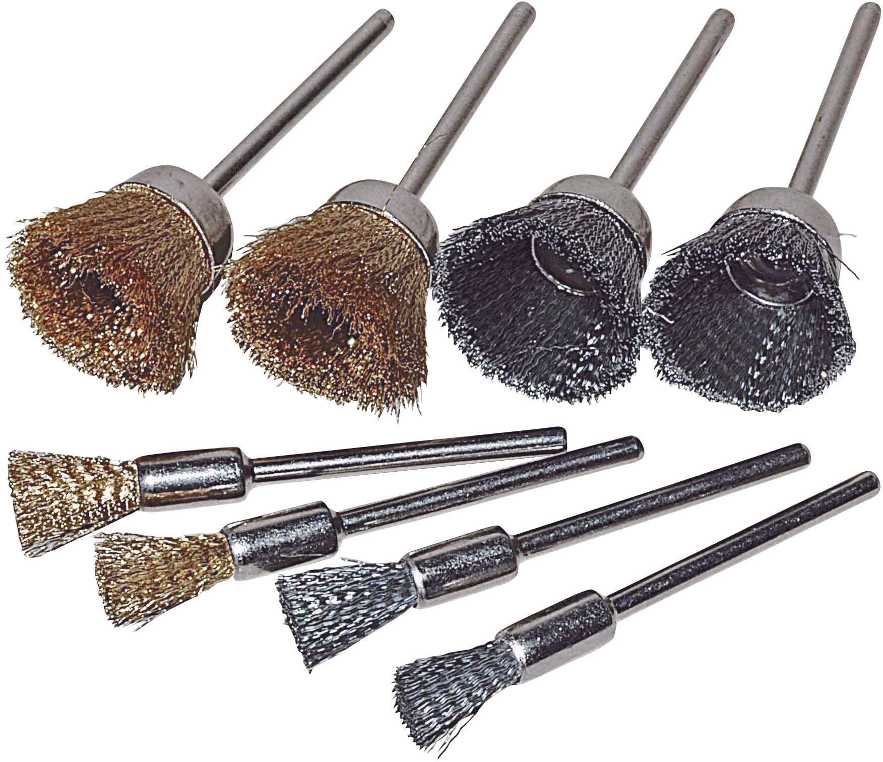 8-dílná sada kuželových ocelových a mosazných kartáčů TOOLCRAFT 816538, Ø dříku 2.35 mm