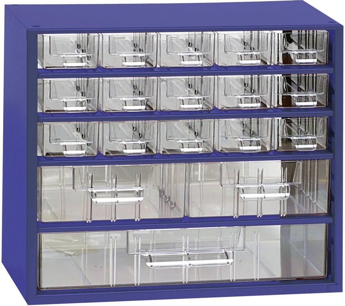 Skrinka na drobné súčiastky 816542, priečinkov: 18, 307 x 155 x 284 , modrá, priehľadná