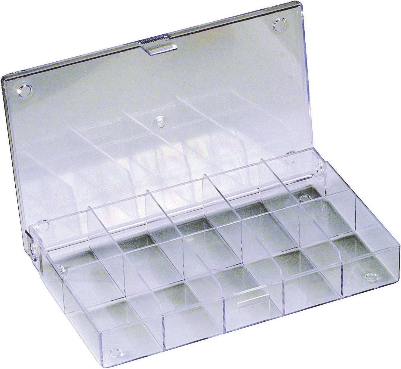 Krabička na drobné súčiastky 816566, priečinkov: 10, 164 x 31 x 101 , priehľadná