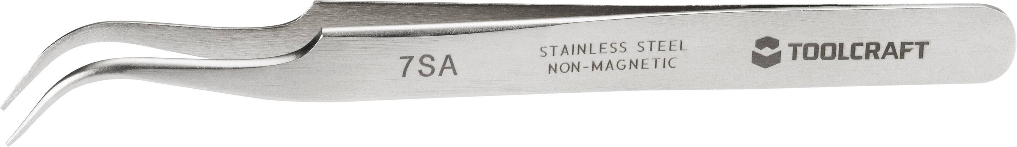 Nerezová pinzeta se špičatým hrotem Toolcraft 7a SA, zahnutá 55°, 120 mm