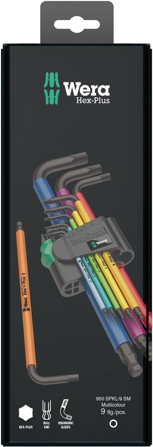 Inbus sada zahnutých kľúčov Wera 950 SPKL/9 SM N Multicolour 05073593001, 9-dielna