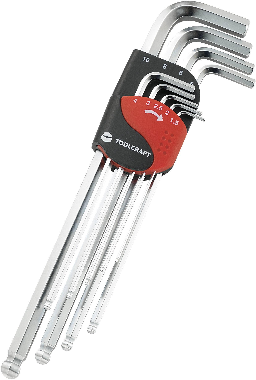 Inbus sada zahnutých kľúčov TOOLCRAFT 819147, 9-dielna