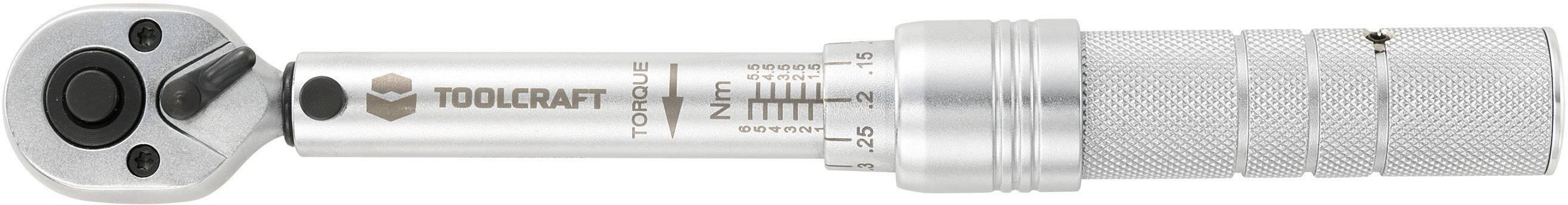 Momentový klíč Toolcraft, 6,3 mm, 1 - 6 Nm