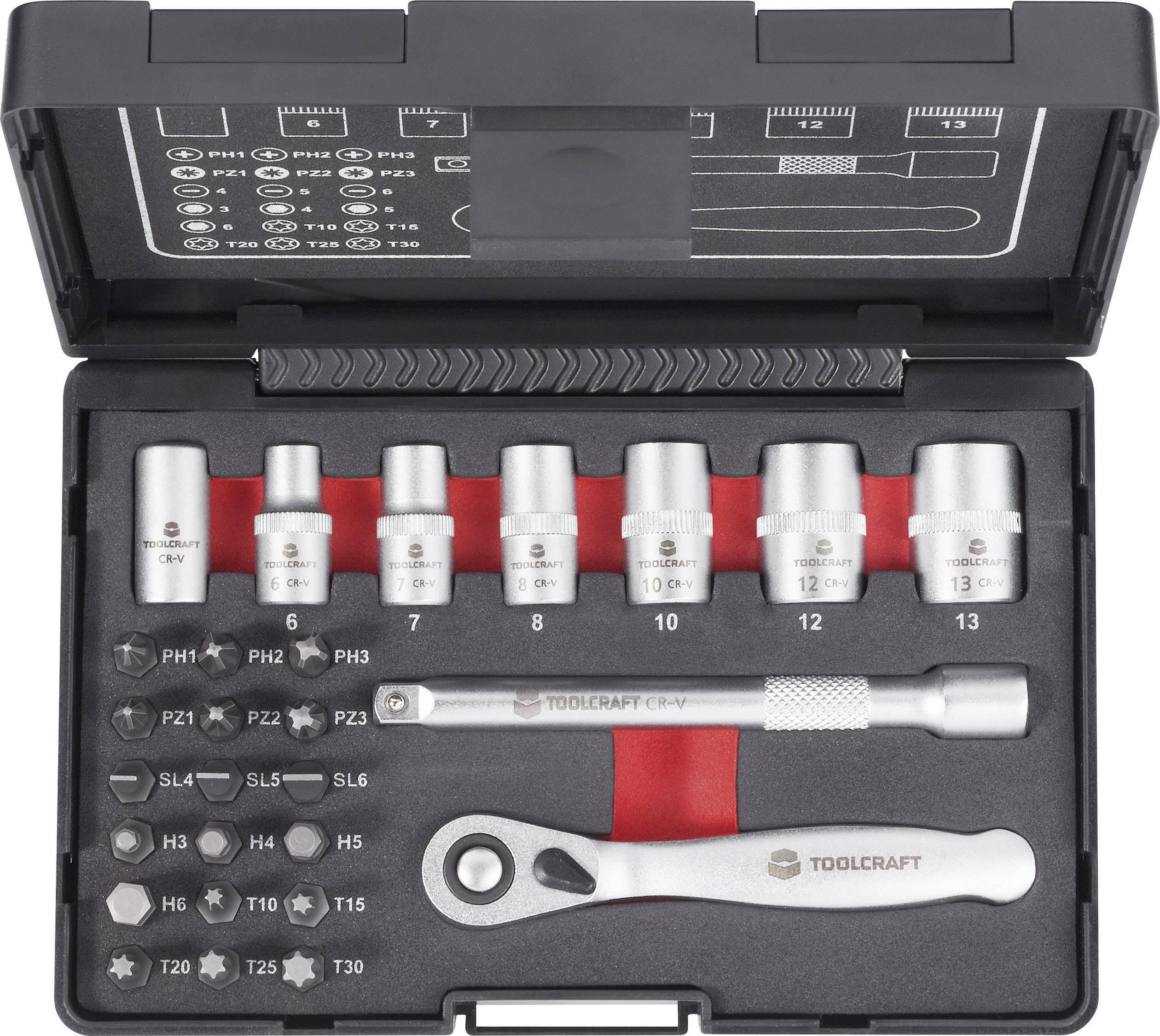 Sada bitů a nástrčných klíčů s ráčnou Toolcraft, 6,3 mm, 26 ks
