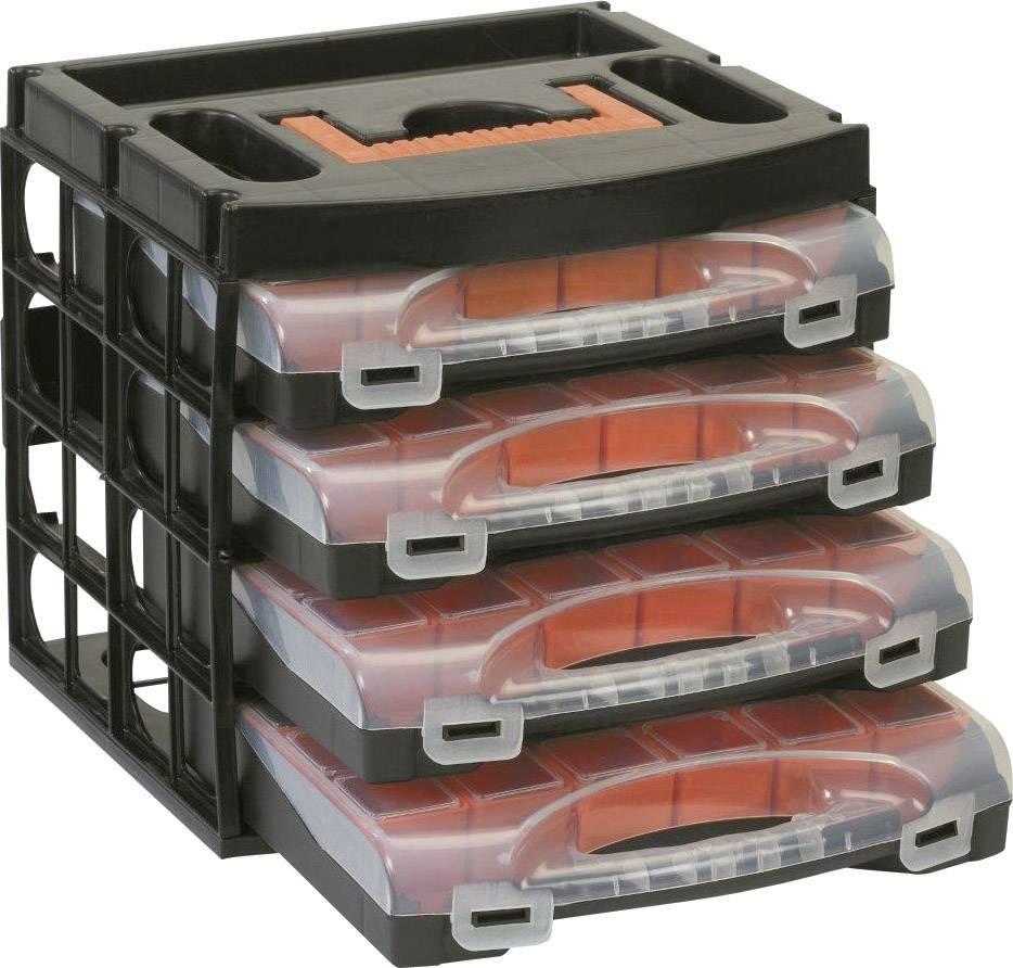 Prepravka so 4 kufríkmi na súčiastky Alutec 56100, čierna