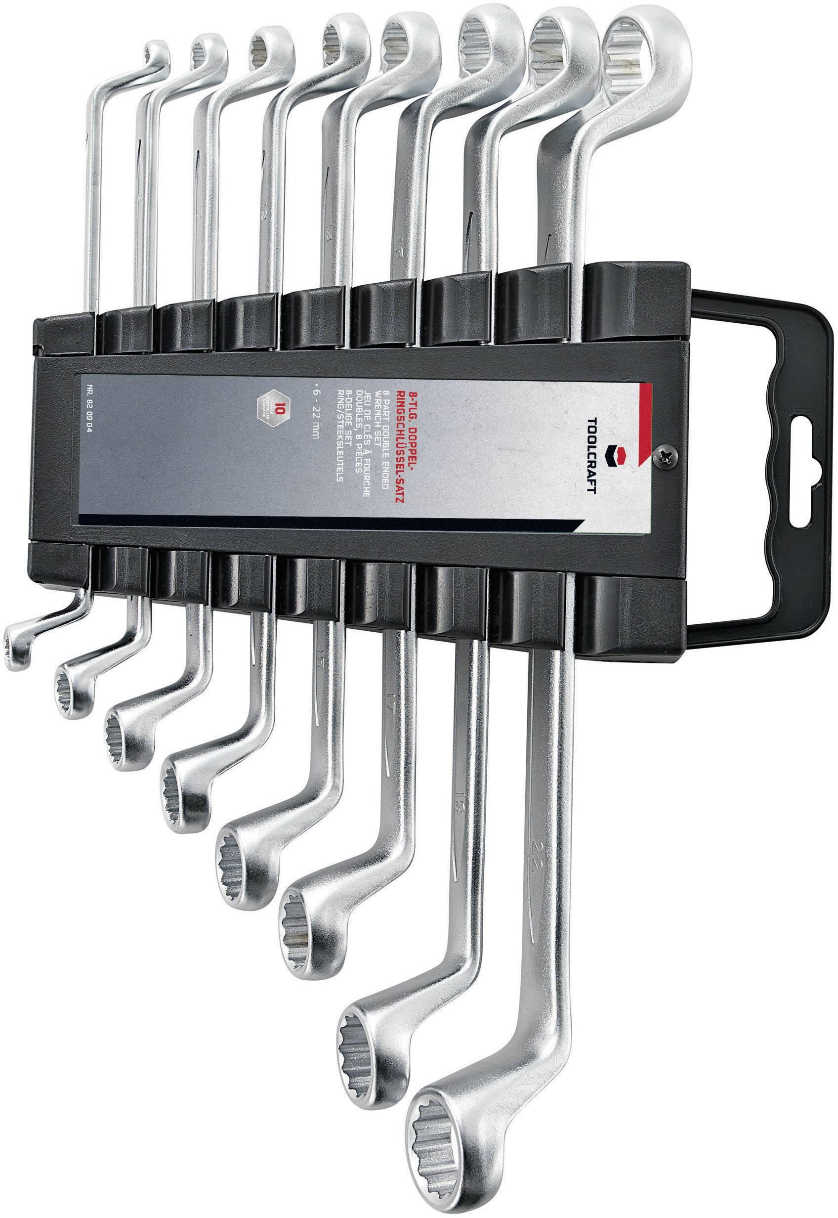 Súprava obojstranných očkových kľúčov TOOLCRAFT 820904, 6 - 22 mm, N/A, 8-dielna