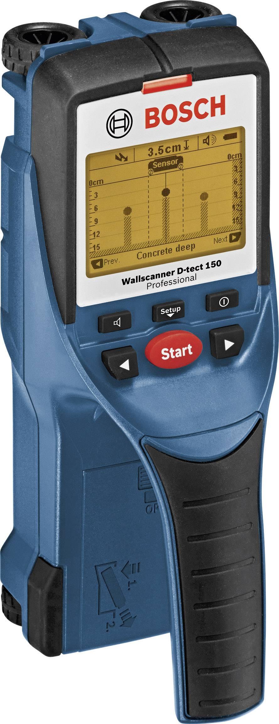 Detektor dreva, železných kovov, neželezných kovov, plastu Bosch Professional D-TECT 150 ATT.NUM.LOCATING_DEPTH_MAX 150 mm 0601010005