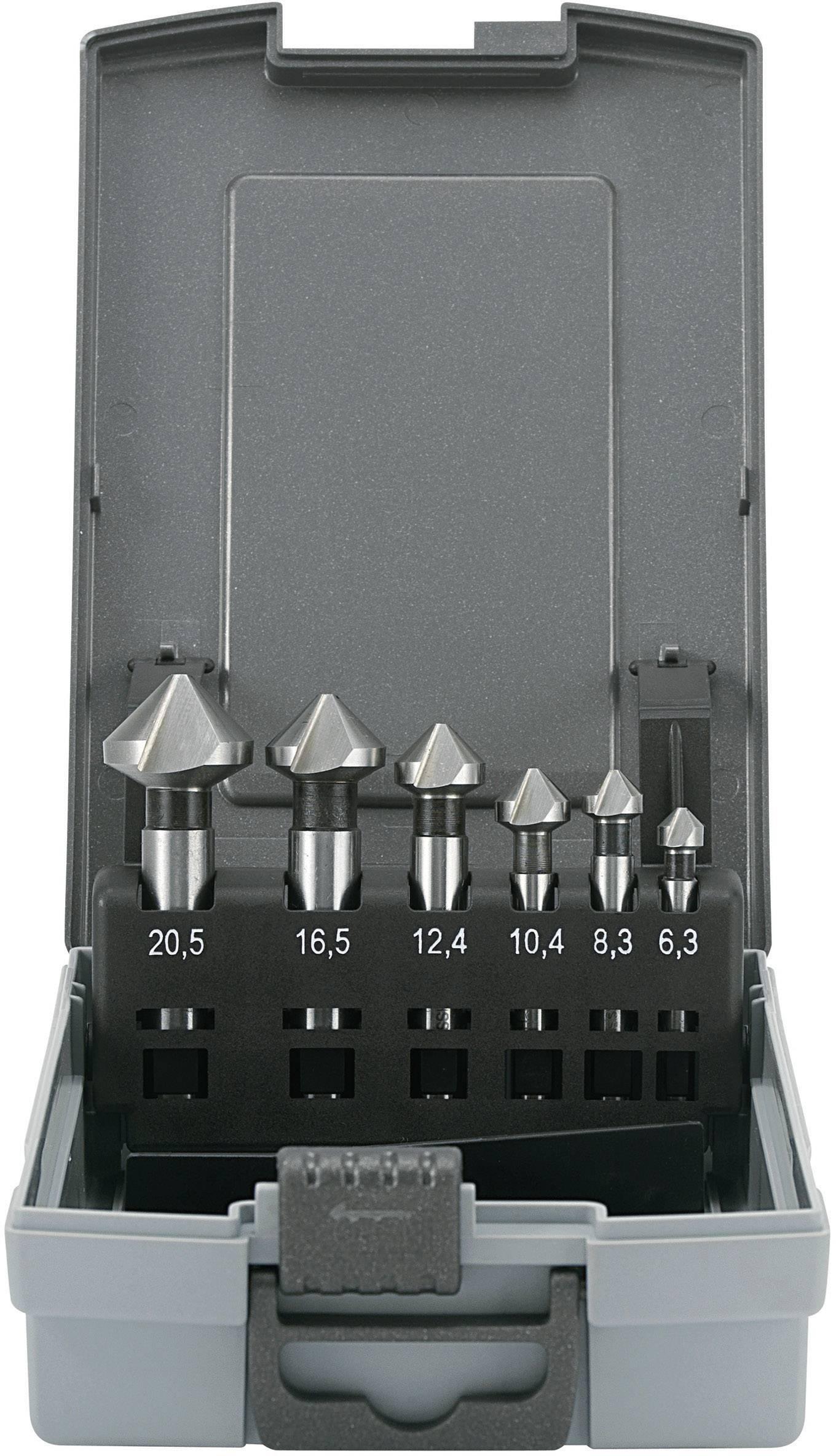 Sada kužeľových záhlbníkov 6-dielna HSS TOOLCRAFT 821394, valcová stopka, 6.3 mm, 8.3 mm, 10.4 mm, 12.4 mm, 16.5 mm, 20.5 mm, 1 sada