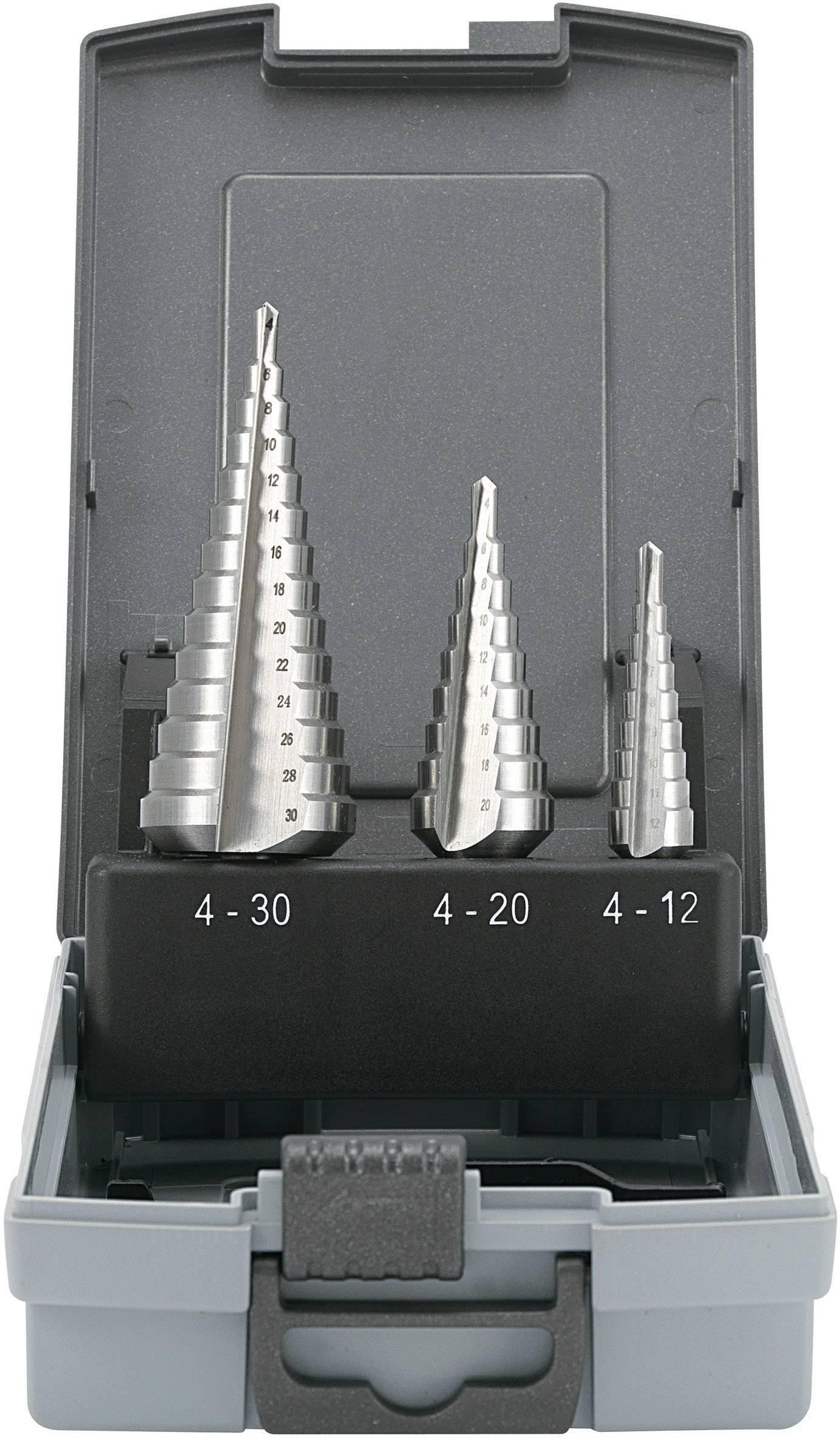 HSS sada stupňovitých vrtákov 3-dielna TOOLCRAFT 821395, 4 - 12 mm, 4 - 20 mm, 6 - 30 mm, valcová stopka, 1 sada