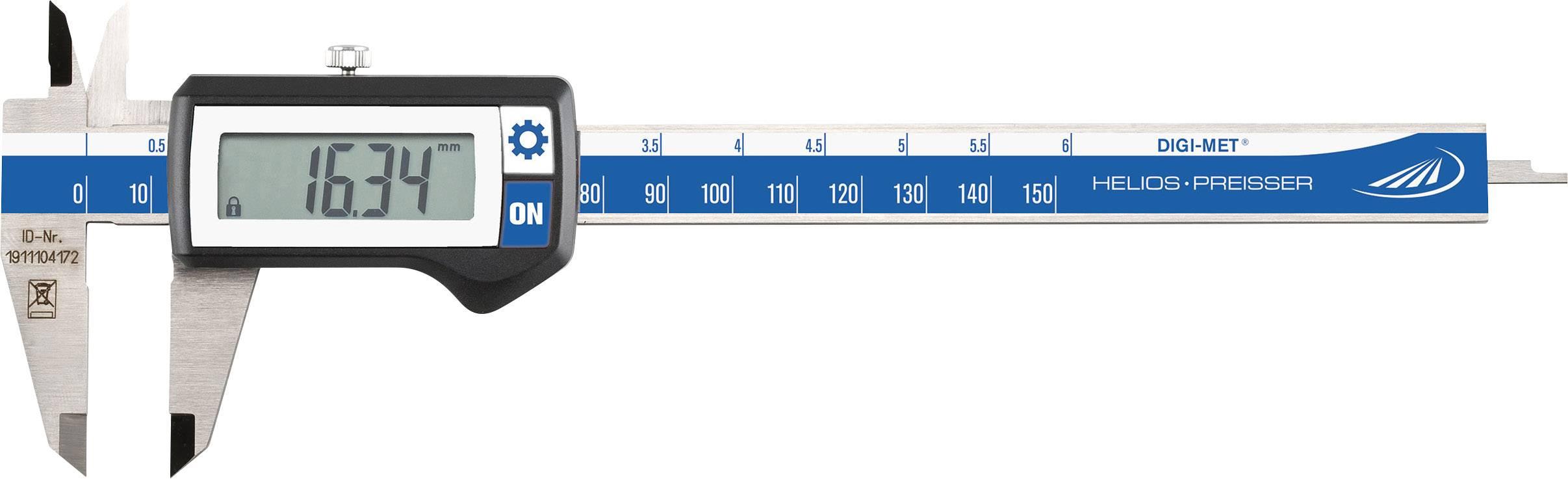 Digitální posuvné měřítko Helios Preisser DIGI-MET 1220 417, měřicí rozsah 150 mm, Kalibrováno dle ISO
