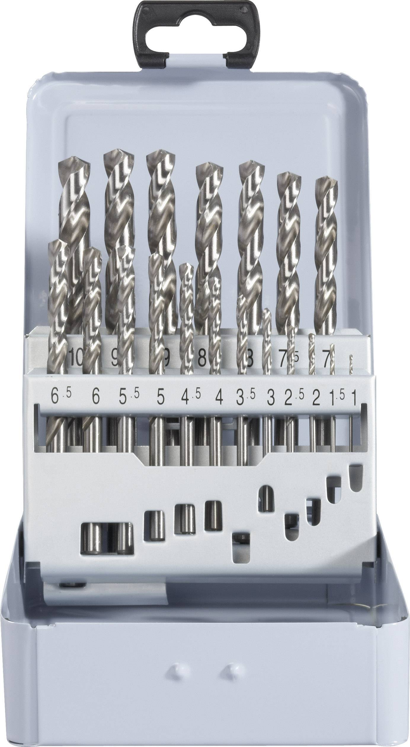 19-dílná sada spirálových vrtáku HSS-G DIN 338 RN