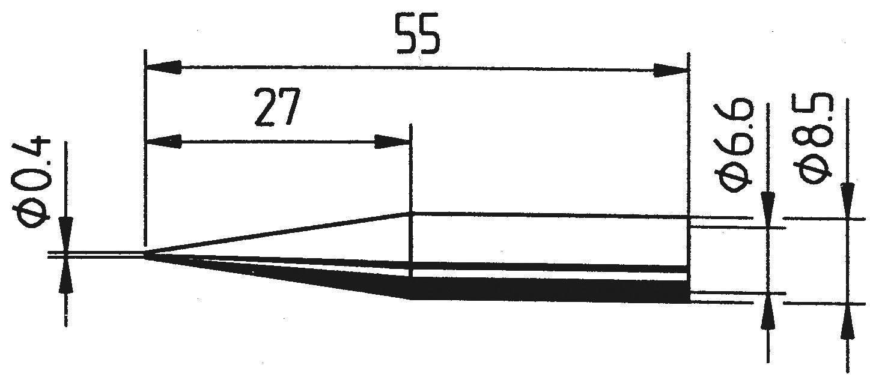 Pájecí hrot Ersa ERSADUR 842 UD, tužkový, prodloužený, 0,4 mm