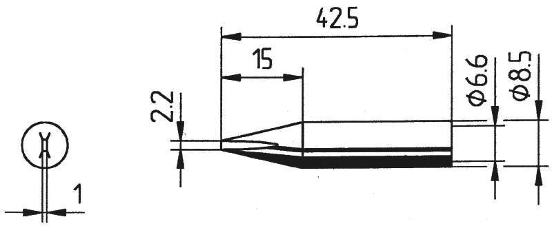 Spájkovací hrot dlátová forma Ersa 842 CD, velikost hrotu 2.2 mm, 1 ks