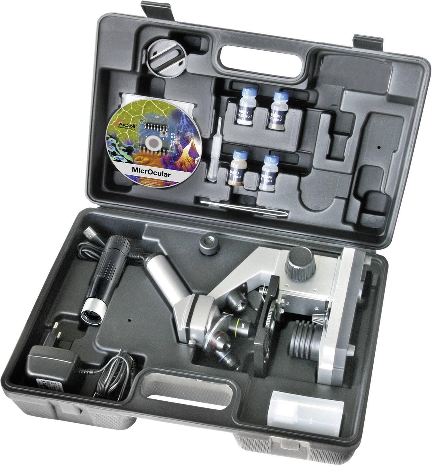 Mikroskop Bresser Junior 40x - 1024x, USB výstup, horné aj dolné LED, kufrík