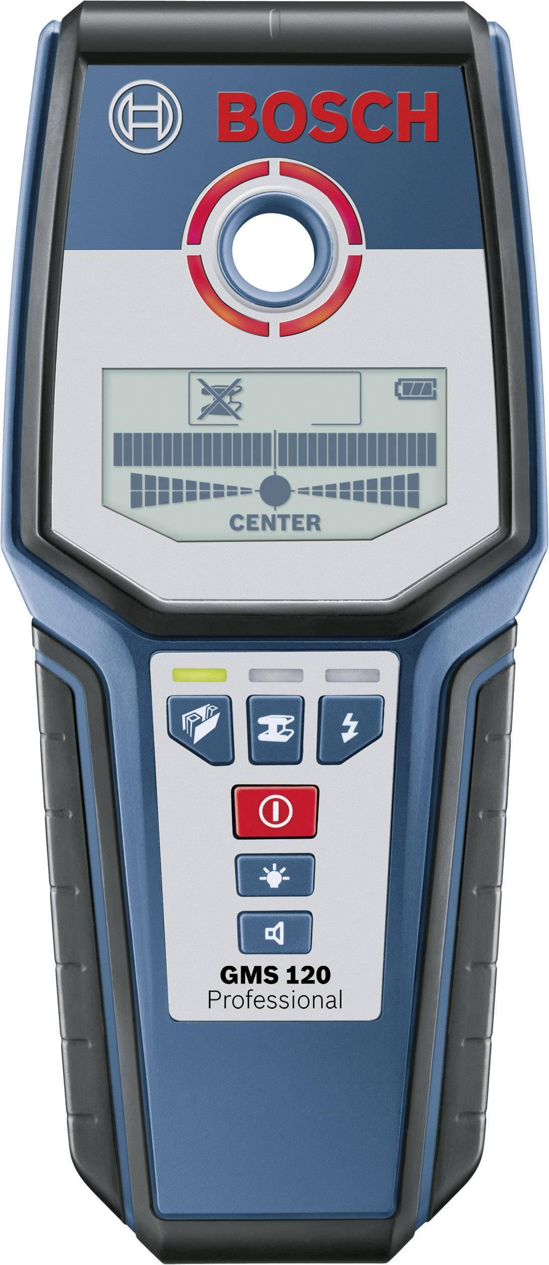 Detektor dreva, železných kovov, neželezných kovov Bosch Professional GMS 120 ATT.NUM.LOCATING_DEPTH_MAX 120 mm 0601081000