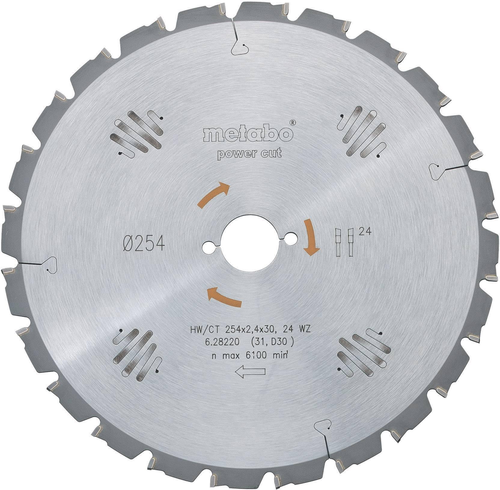 """Pílový kotúč Metabo """"power cut"""" HW/CT, Ø 254 x 30 mm, 628221000"""