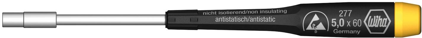 ESD šroubovák - nástrčný klíč vnější šestihran Wiha 07657, čepel 60 mm, klíč 5 mm, chrom-vanadová ocel