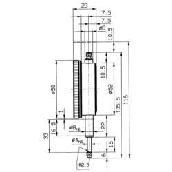 Číselníkový úchylkoměr HELIOS PREISSER 0701103 Rozsah měření 10 mm Rozlišení 0,01 mm Kalibrováno dle ISO