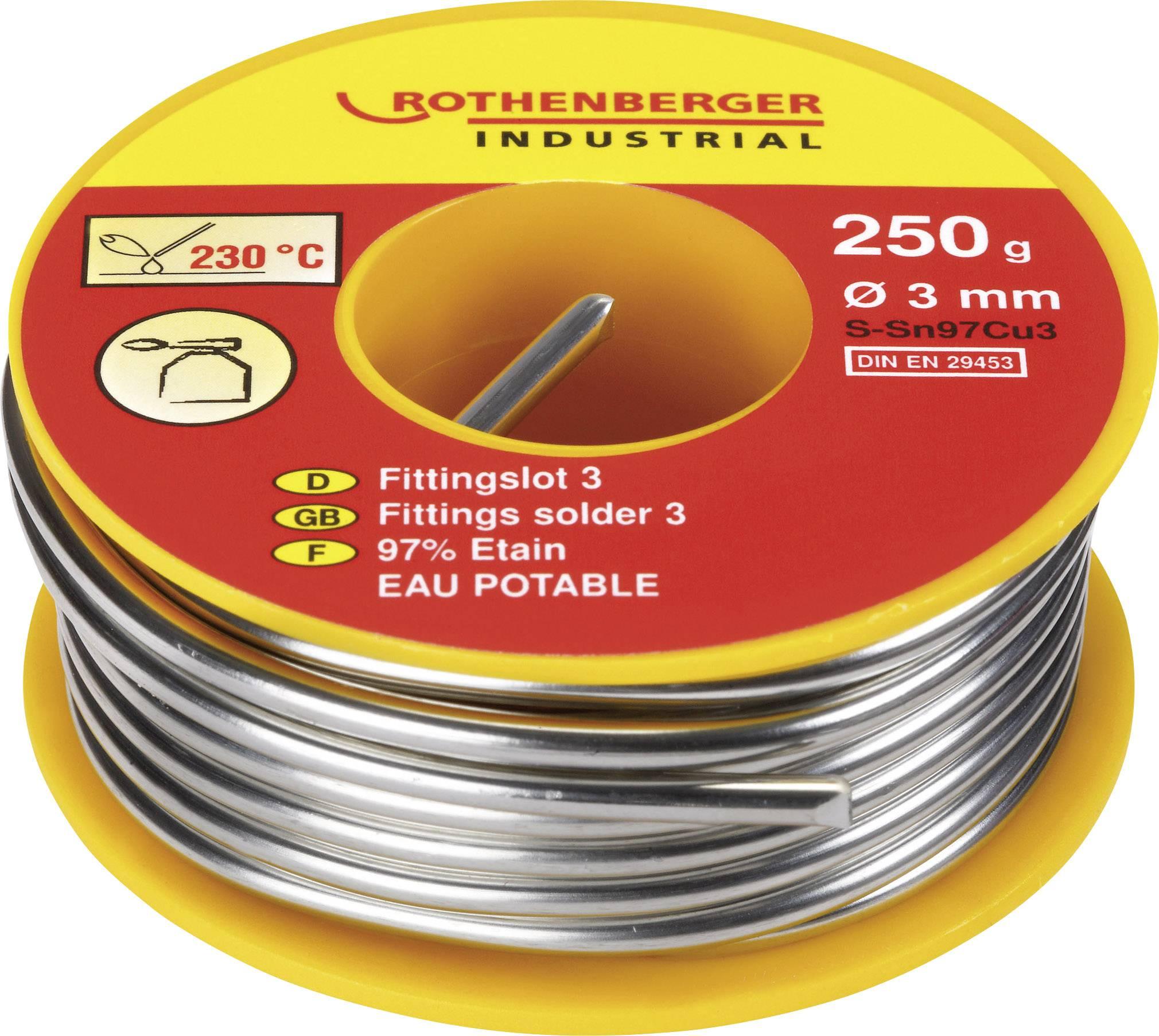 Cínová pájka PBF Sn97Cu3, Ø 3mm, 250 g, Rothenberger