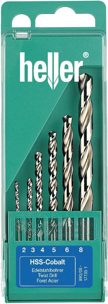 HSS sada kovového špirálového vrtáka Heller 17735 D, 2 mm, 3 mm, 4 mm, 5 mm, 6 mm, 8 mm, DIN 338, 1 sada