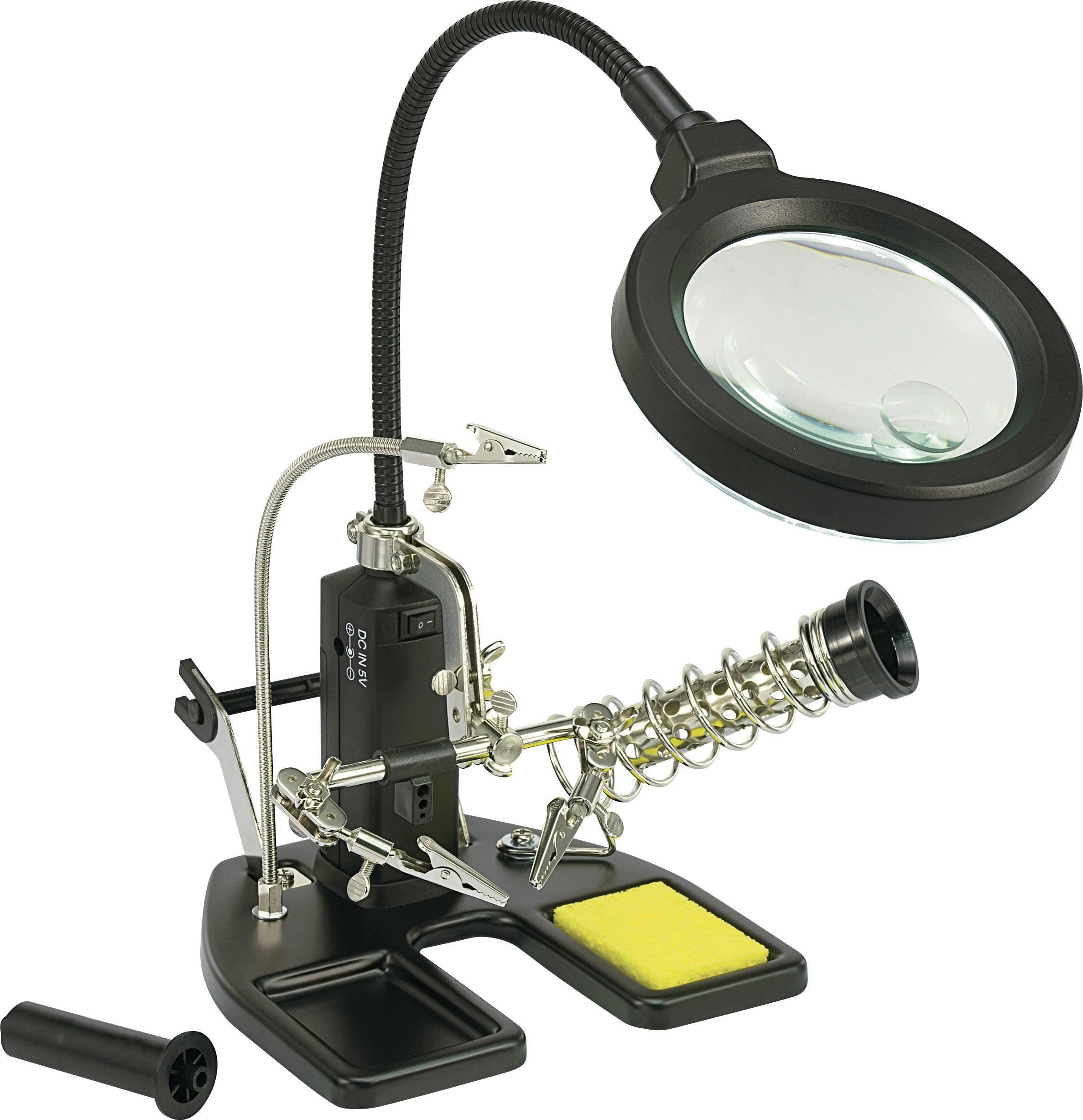 Stolná svetelná lupa Toolcraft s tretou rukou