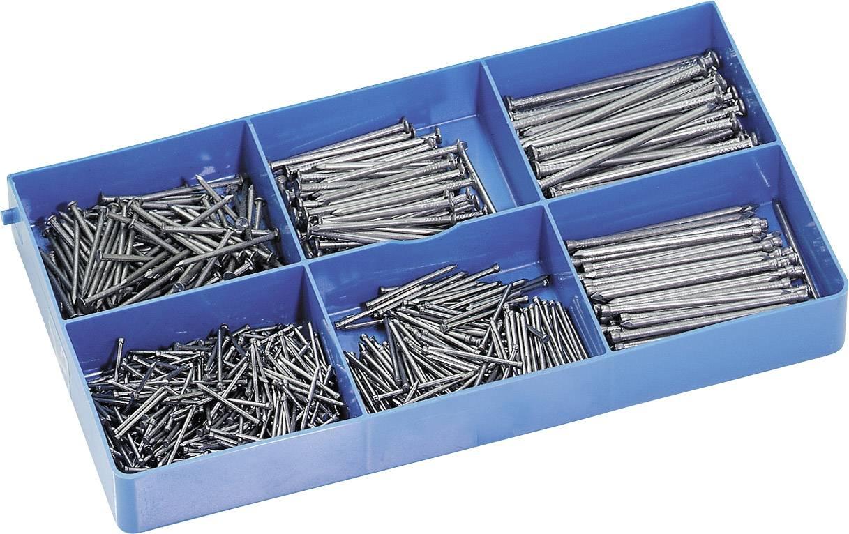Sada hřebíků v plastovém pouzdře, DIN 1151, DIN 1152, 750 ks
