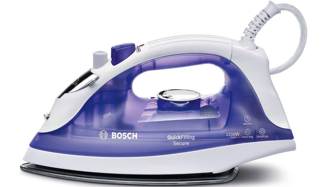 Parná žehlička Bosch Haushalt TDA2377 QuickFilling Secure, 2200 W, biela, fialová (transparentná)