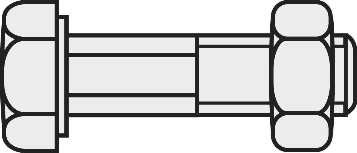 Šroub se šestihrannou hlavou a dříkem DIN 601 M8X30