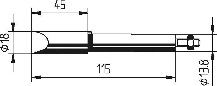 Spájkovací hrot dlátová forma, zosilnená, poniklovaná Ersa 202 MZ, velikost hrotu 18 mm, 1 ks