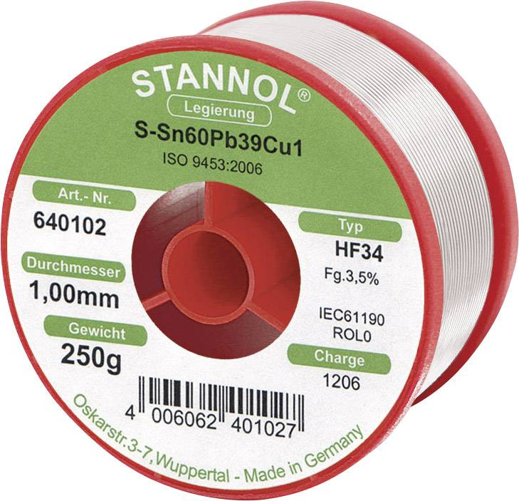 Cínová spájka, L-Sn 60Pb38Cu2, Ø 1 mm, 250 g, Stannol HF 34
