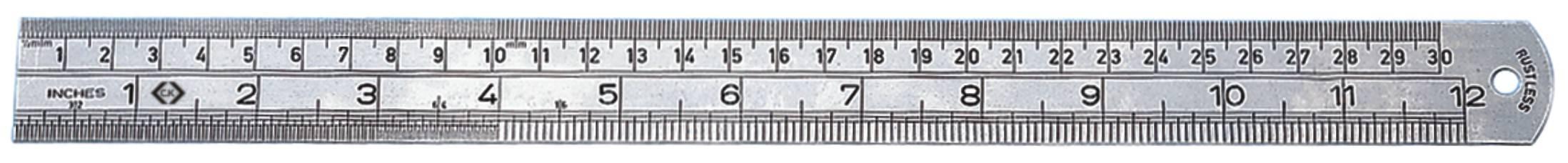 Oceľové pravítko metrické/palcové C.K. T3530 12, 300 mm