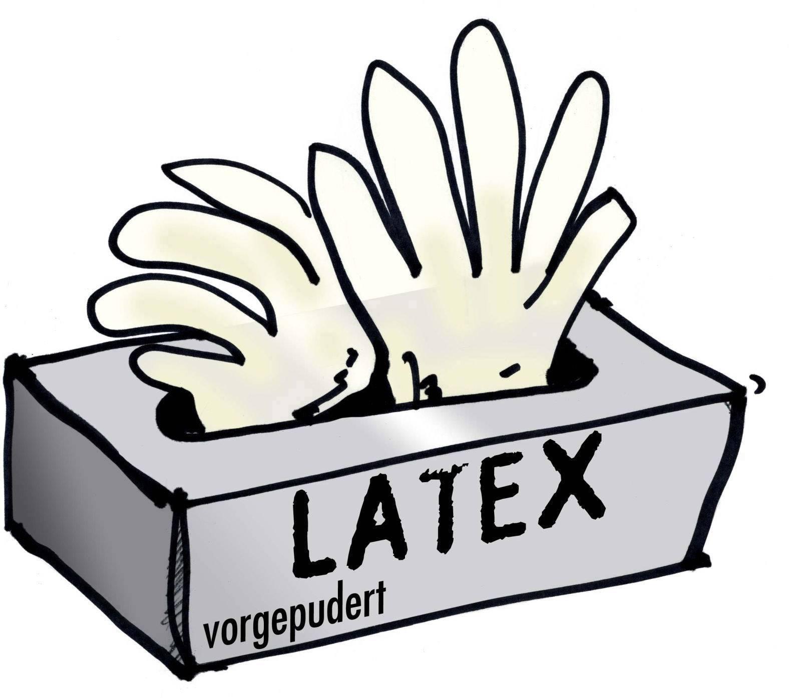 Rukavice latexové, jedorázové, předlisované,100 cm, oranžové
