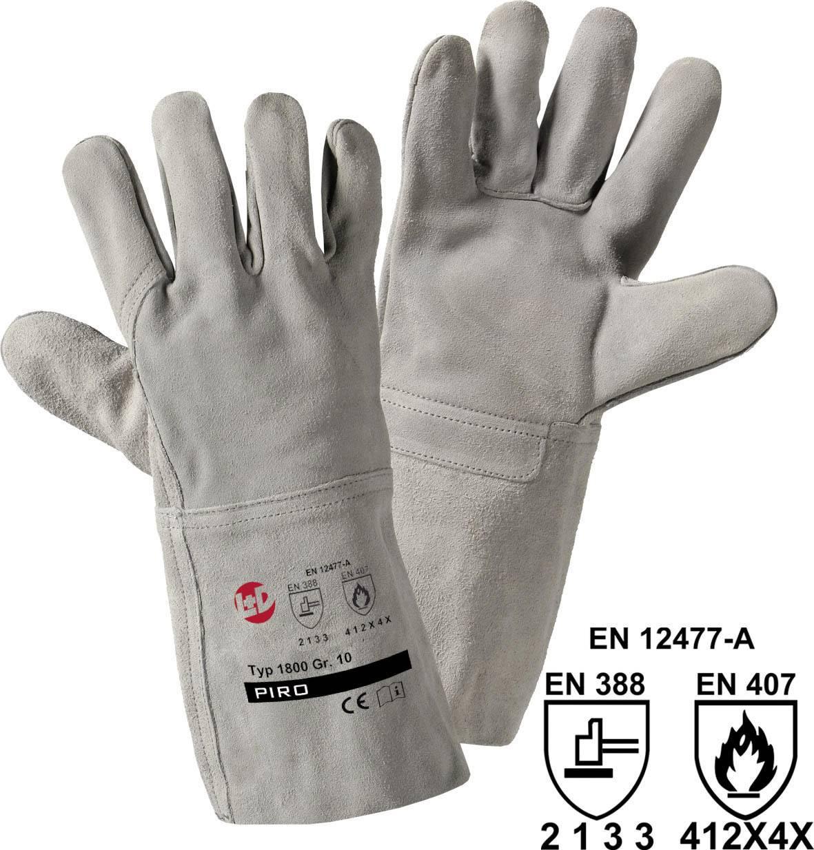 Svářečské rukavice L+D worky Split 1800, Useň z hovězinové štípenky, velikost rukavic: 10, XL