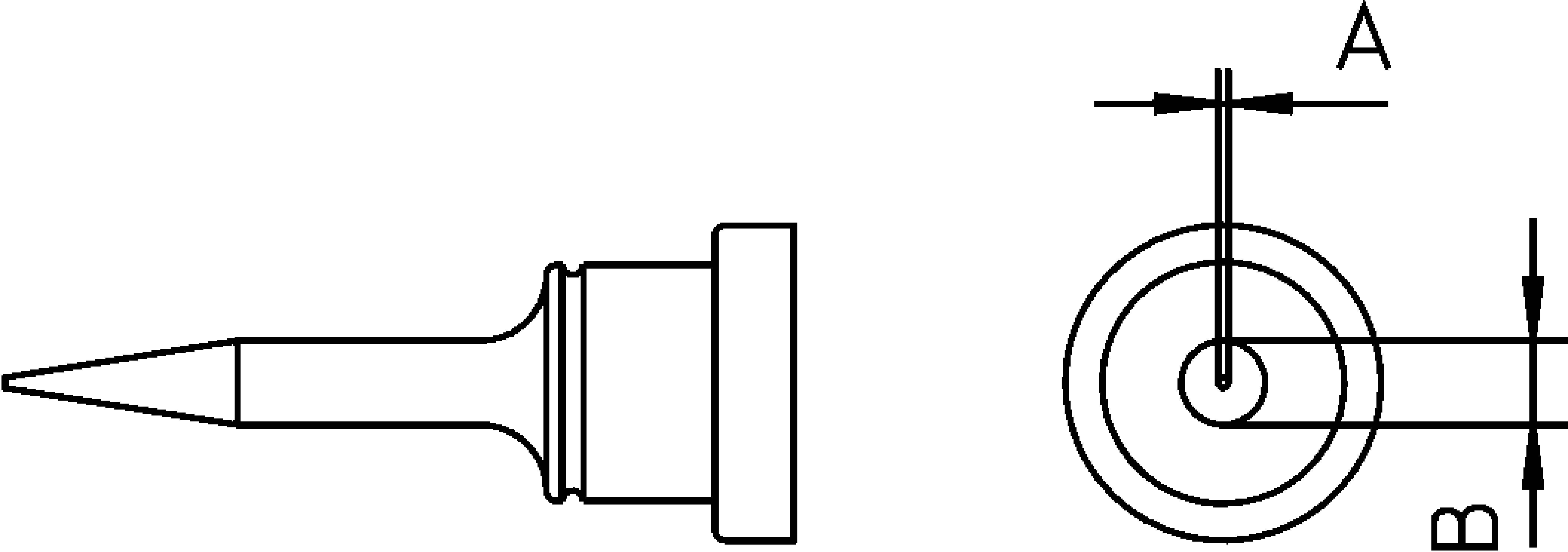 Pájecí hrot Weller LT-1S, dlouhý, kulatý, 0,2 mm