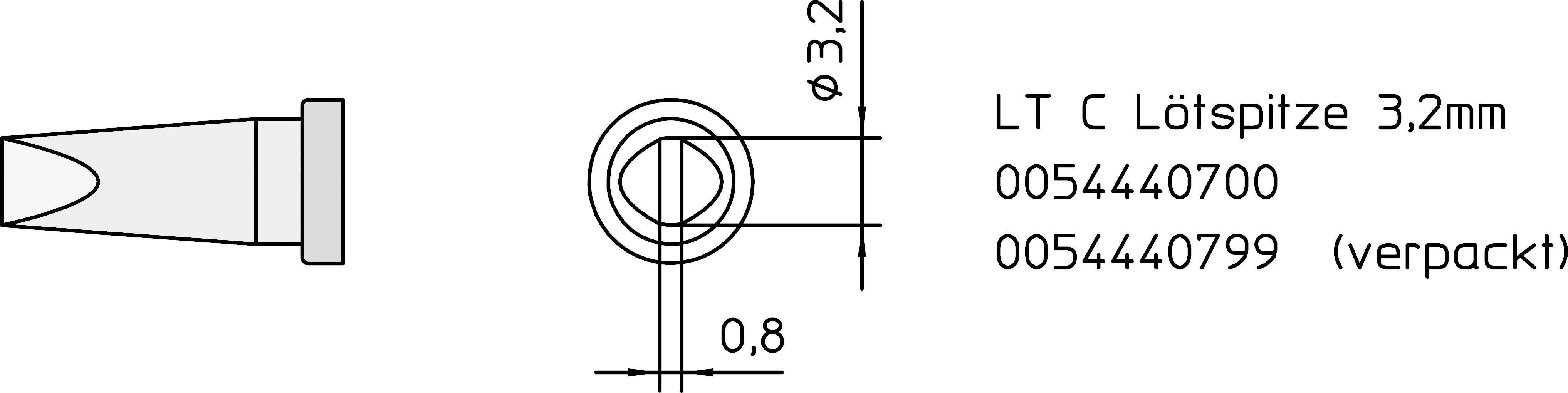 Spájkovací hrot dlátová forma, rovná Weller Professional LT-C, velikost hrotu 3.2 mm, 1 ks