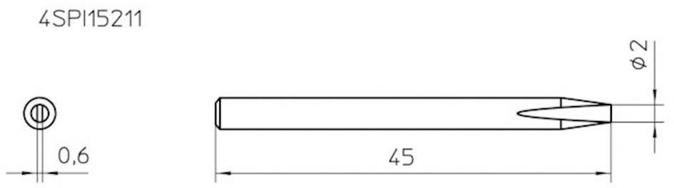 Spájkovací hrot dlátová forma Weller Professional 4SPI15211-1, velikost hrotu 2 mm, 1 ks