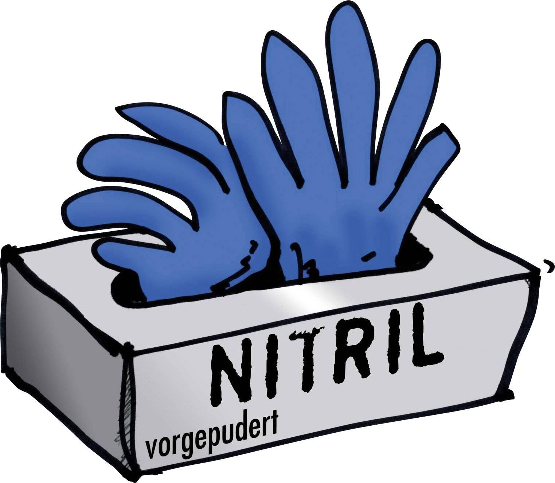 Rukavice nitrilové, jedorázové předlisované, 100 ks