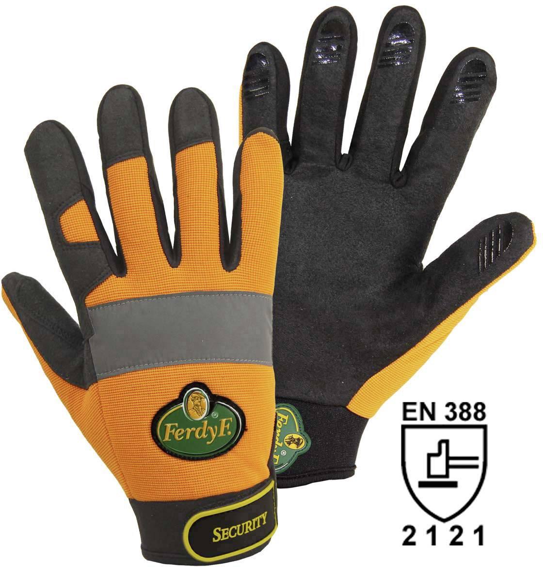 Pracovní rukavice, syntetická kůže, velikost L (9), oranžové