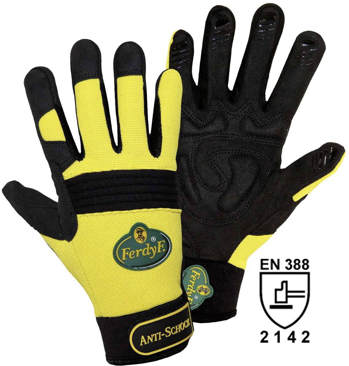 Montážní rukavice FerdyF. ANTI-SCHOCK 1970, CLARINO® - Syntetická kůže, velikost rukavic: 7, S