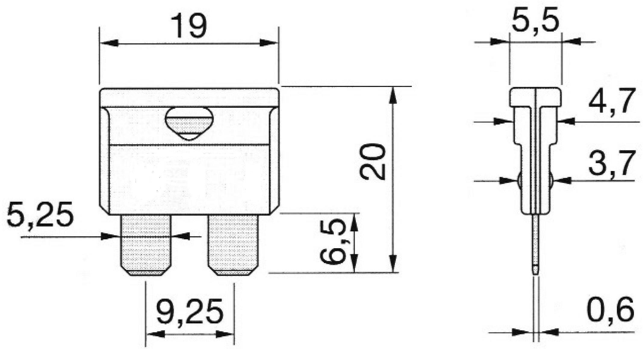 Plochá pojistka MTA 340017, 1 A, čierna