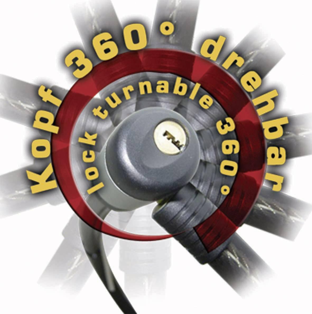 Kabelový zámek Security Plus PK 96, (Ø x d) 18 mm x 1200 mm, černá