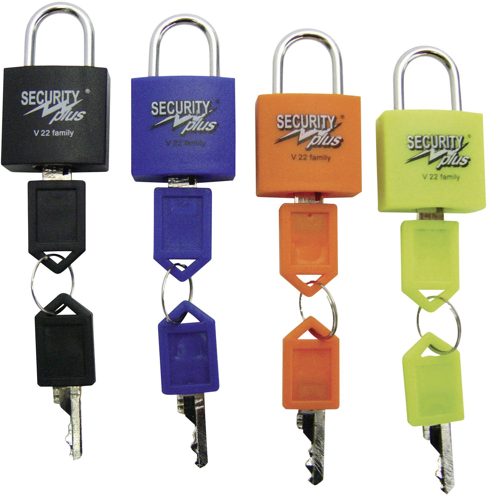 Visiaci zámok Security Plus V 22-4, (d x š x v) 13 x 24 x 40 mm, sada 4 ks, neónovo žltá, modrá, oranžová, čierna