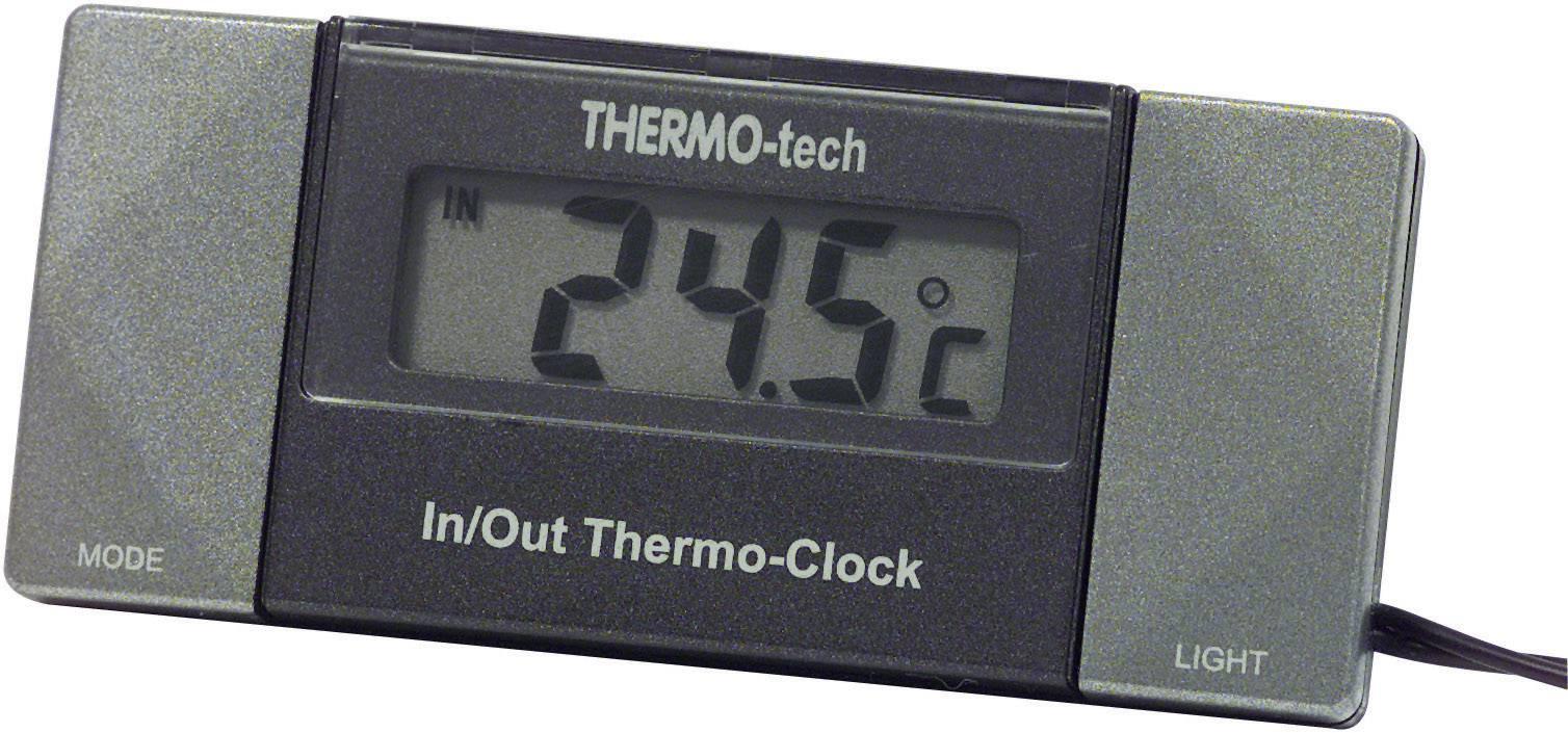 Vnitřní/venkovní teploměr s hodinami do auta Herbert Richter, 4518, digitální, vestavný