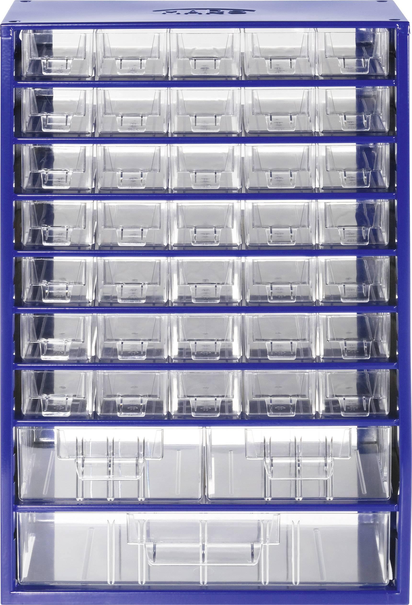 Skrinka na drobné súčiastky 844950, priečinkov: 38, 307 x 155 x 464 , modrá, priehľadná