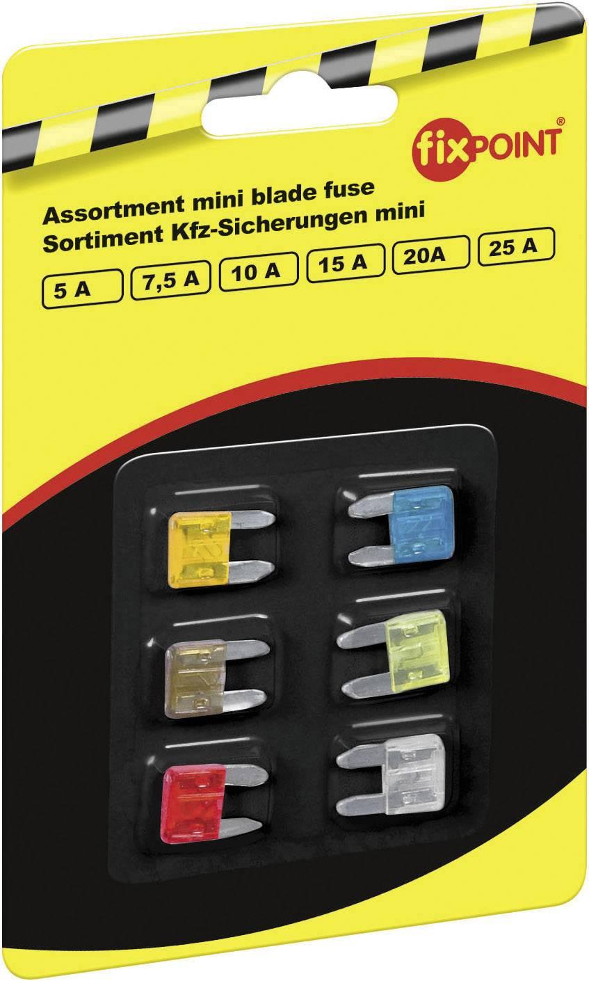 Sada miniaturních plochých autopojistek, 5 - 25 A, 6 ks