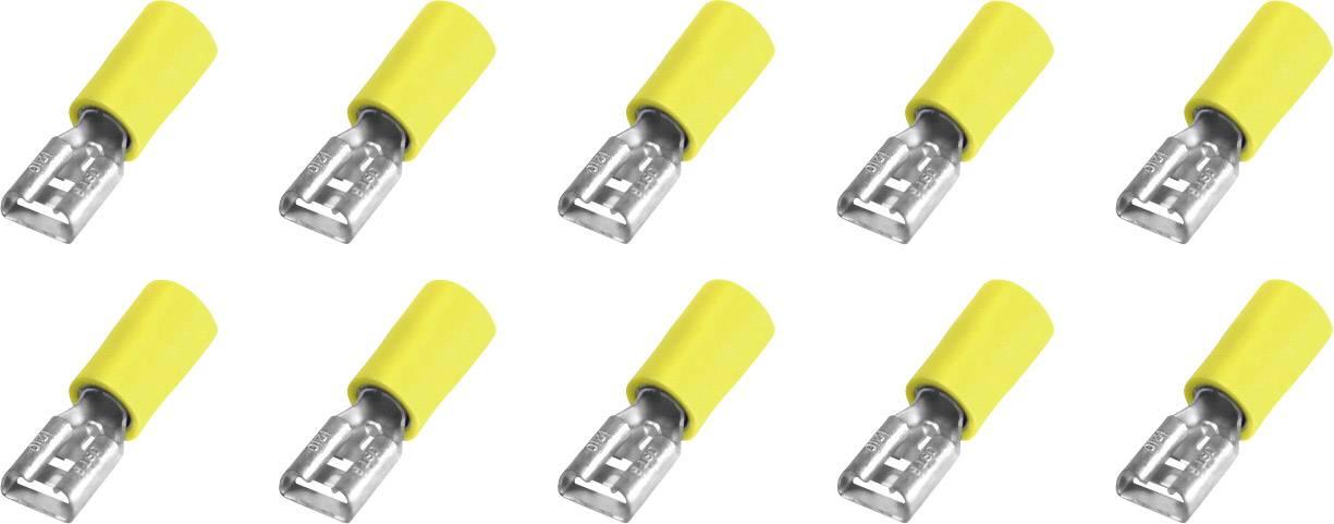 Faston konektor zásuvka 323008 6.3 mm x 0.8 mm, 180 °, čiastočne izolované, žltá, 10 ks