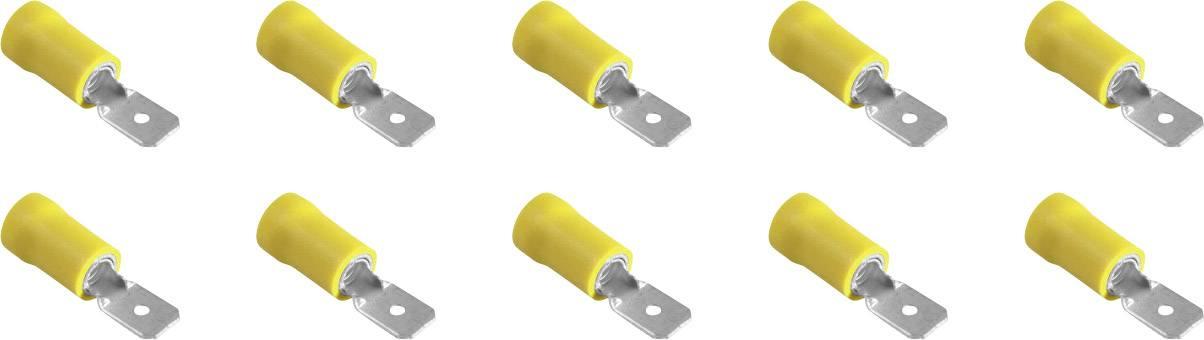 Faston konektor zástrčka 323011 6.3 mm x 0.8 mm, čiastočne izolované, žltá, 10 ks