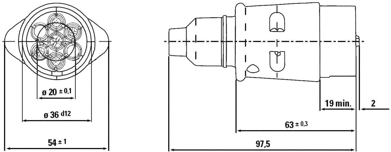 Zástrčka na zapojenie prívesu SecoRüt 20115, [7 pólová zásuvka - 7 pólová zástrčka], 12 V, hliník