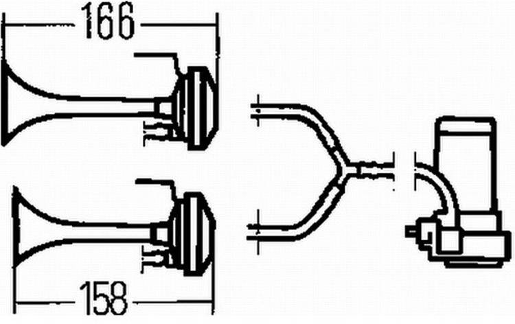 Kompresorová fanfára Hella 3PB 003 001-661, 24 V