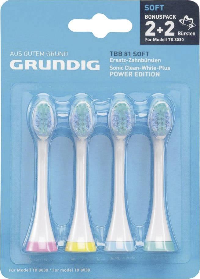 Náhradní hlavice pro elektrický zubní kartáček Grundig TBB81, měkké, 4 ks